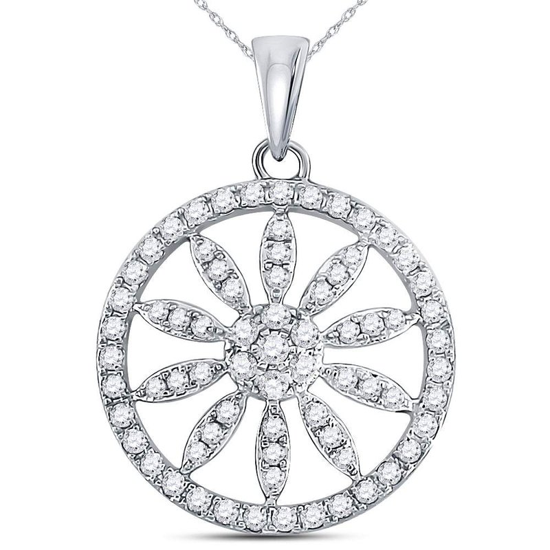 Kingdom Treasures 14kt White Gold Womens Round Diamond Starburst Flower Circle Pendant 5/8 Cttw