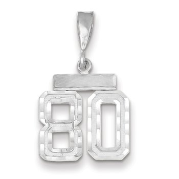 14k White Gold Small Diamond-cut Number 80 Charm