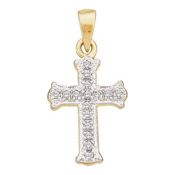 14kt Yellow Gold Womens Round Diamond Small Scalloped Cross Religious Pendant 1/12 Cttw