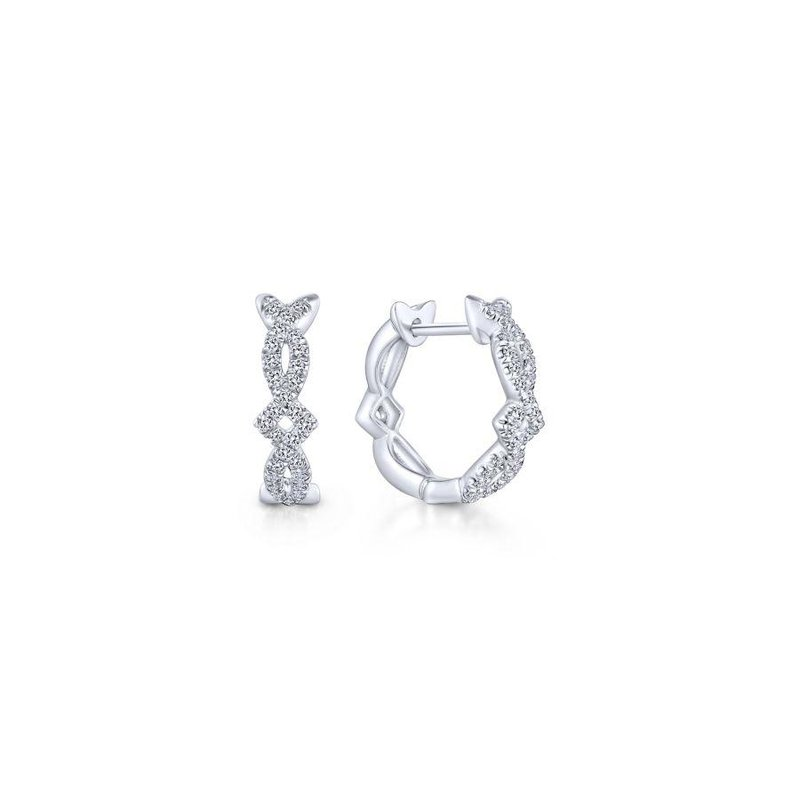 Gabriel Fashion 14K White Gold Twisted 10mm Diamond Huggie Earrings