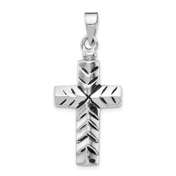 Sterling Silver Rhodium-plated Enameled Cross Ash Holder Pendant
