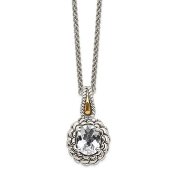 Sterling Silver w/ 14k Polished White Topaz Necklace