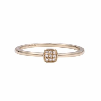 Tinny square 14K gold ring perfect for stacking with other rings or as a pinky T.W 0.05CT