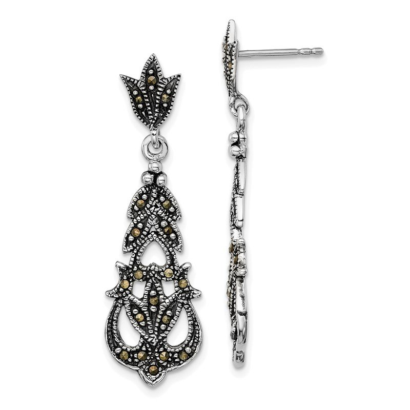 Quality Gold Sterling Silver Rhodium-plated Marcasite Post Dangle Earrings
