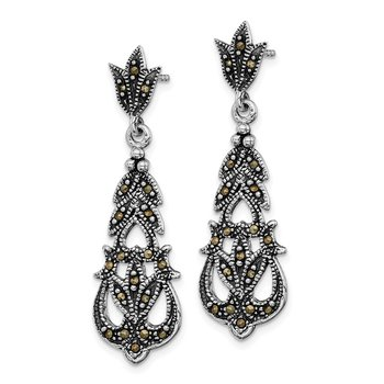 Sterling Silver Rhodium-plated Marcasite Post Dangle Earrings