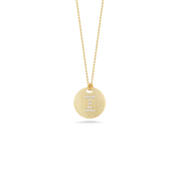 18KT GOLD DISC PENDANT WITH DIAMOND INITIAL I