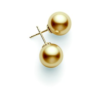 Golden South Sea Cultured Pearl Stud Earrings