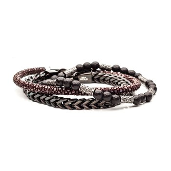 Black Bead, Black Plated Steel And Brown Leather  Stackable Bracelets