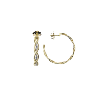 18KT NEW BAROCCO LRG BRAIDED DIA EARRING