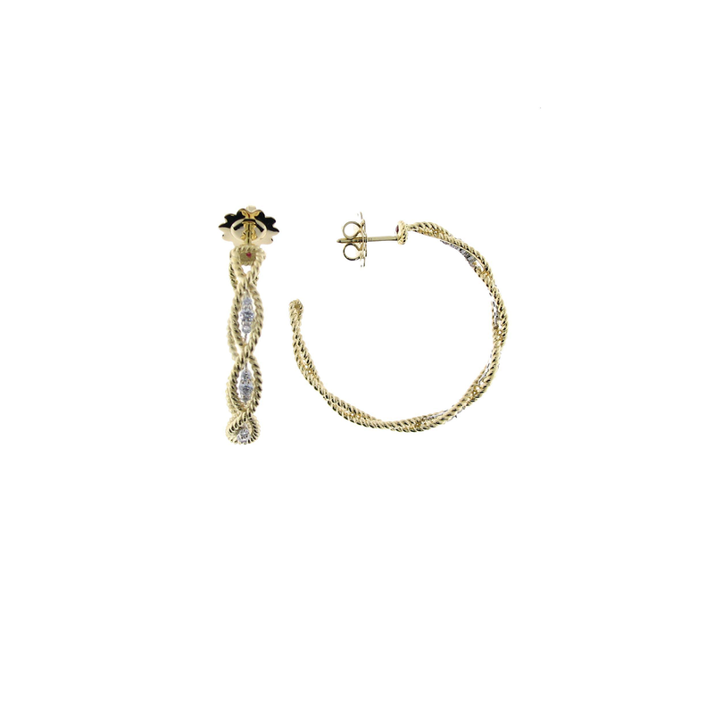 Roberto Coin 18Kt New Barocco Lrg Braided Dia Earring