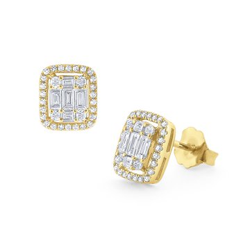 Diamond Mosaic Stud Earrings Set in 14Kt. Gold
