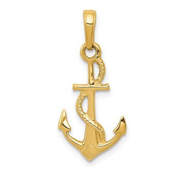 14K Solid Polished 3-D Anchor Pendant