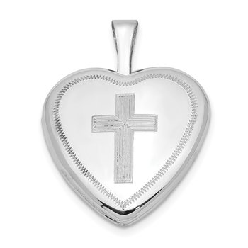 Sterling Silver Rhodium-plated 16mm Cross Heart Locket