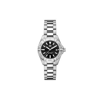 Lady Aquaracer In Stainless Steel. The 28 mm Quartz Watch Has A Rotating Bezel, Black Dial, And A Steel Bracelet With A Folding Clasp Which Includes A Wet-Suit Extension. Model WBD1410.