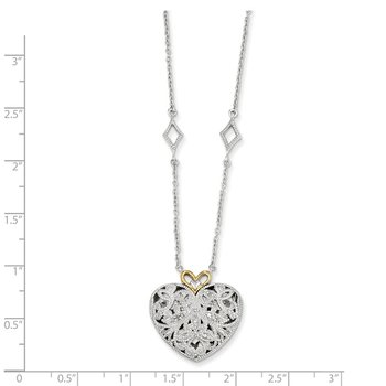 Sterling Silver w/14k Diamond Vintage Heart Necklace