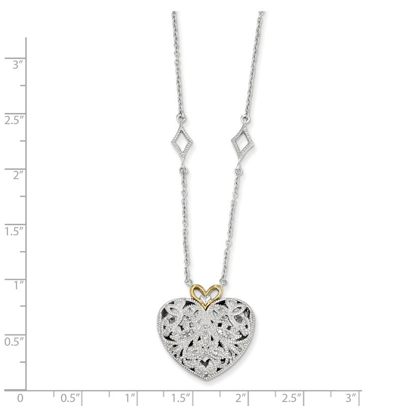 Shey Couture Sterling Silver w/14k Diamond Vintage Heart Necklace