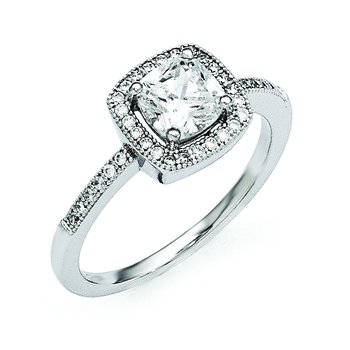 Sterling Silver Rhodium-Plated & CZ Brilliant Embers Ring