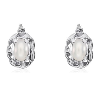 14k White Gold Freshwater Cultured Pearl Scroll Diamond Earrings