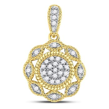 10kt Yellow Gold Womens Round Diamond Milgrain Cable Cluster Pendant 1/10 Cttw