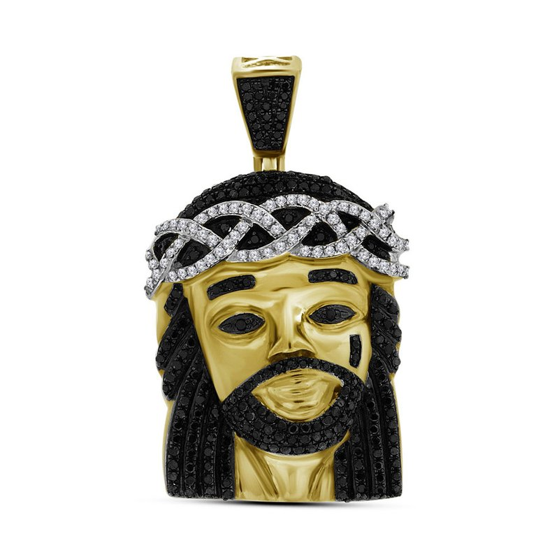 Kingdom Treasures 10k Yellow Gold Polished Black Color Enhanced Diamond Mens Jesus Christ 3D Head Piece Charm Pendant 1.00 Cttw