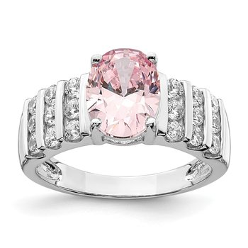Sterling Silver Rhodium-plated Oval Pink & White CZ Ring