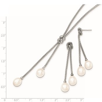Sterling Silver Rhodium FWC Pearl Knot 18 in. Necklace & Earring Set
