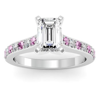 Pave Pink Sapphire & Diamond Cathedral Engagement Ring