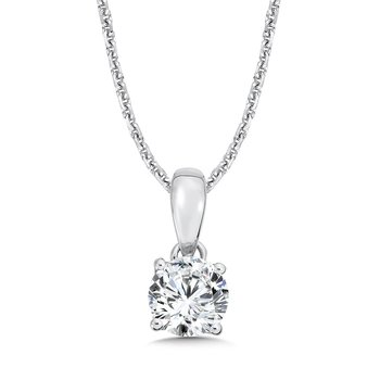 Round Diamond Solitaire Pendant in 14K White Gold (3/4 ct. tw.)