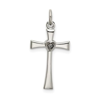 Sterling Silver Polished CZ Heart Cross Pendant
