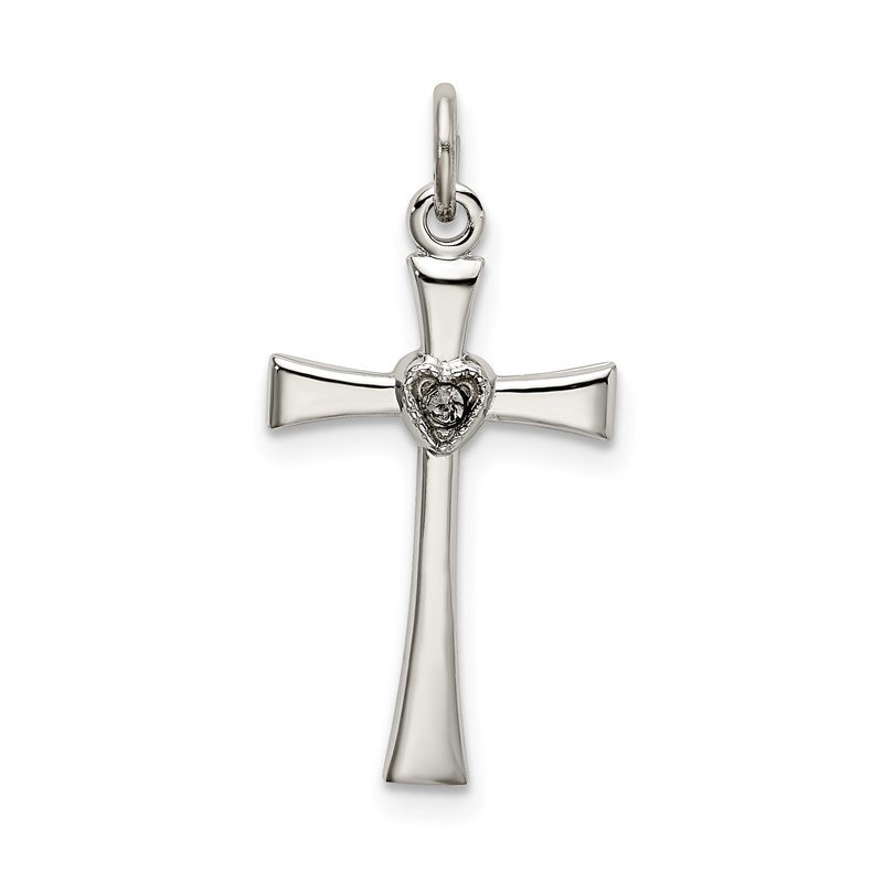 Arizona Diamond Center Collection Sterling Silver Polished CZ Heart Cross Pendant