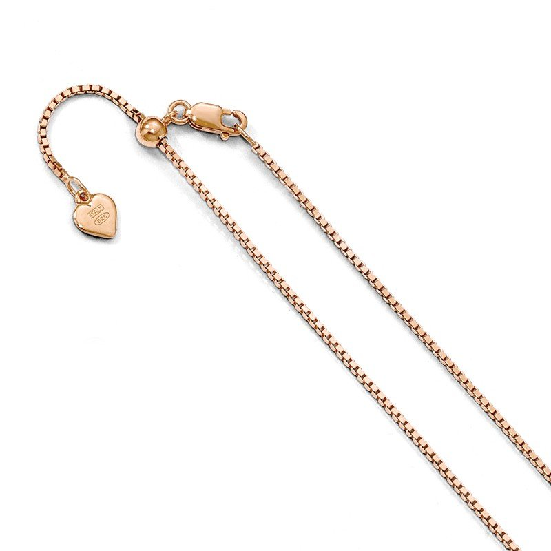 Leslie's Leslie's Sterling Silver Rose Gold-platedd Adjustable 1.1mm Box Chain