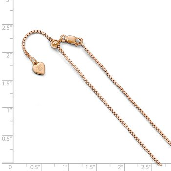 Leslie's Sterling Silver Rose Gold-platedd Adjustable 1.1mm Box Chain