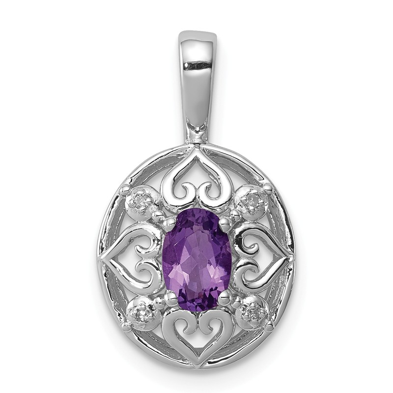 925 Sterling Silver Rhodium-plated Amethyst /& Diamond Prong Set Pendant