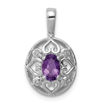 Sterling Silver Rhodium-plated Amethyst Diamond Pendant