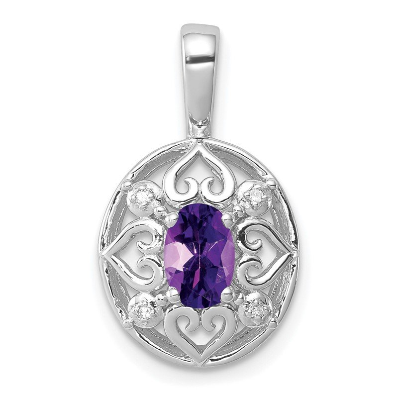 Quality Gold Sterling Silver Rhodium-plated Amethyst Diamond Pendant