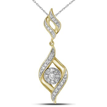 14kt Yellow Gold Womens Round Diamond Cluster Pendant 1/3 Cttw