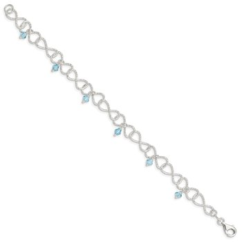 Sterling Silver Textured Aquamarine Colored Glass Bead Bracelet
