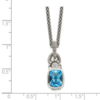 Sterling Silver Sky Blue Topaz & Diamond Necklace
