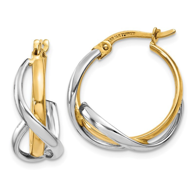Quality Gold 14K Two-Tone Polished Twisted Hoop Earrings