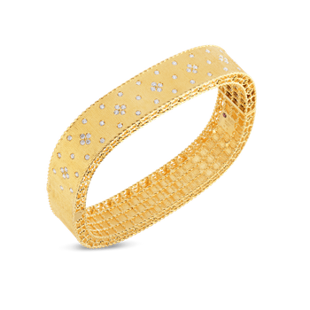 18Kt Gold Satin Finish Bangle With Fleur De Lis Diamonds
