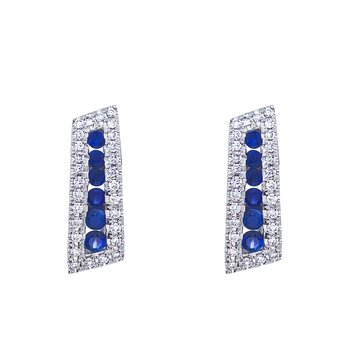 14k White Gold Sapphire and Diamond Euro Back Earring