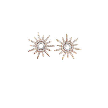 18KT GOLD SUN EARRING WITH DIAMONDS