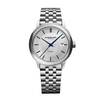Men's Automatic Date Watch, 39mm Steel on steel, silver dial