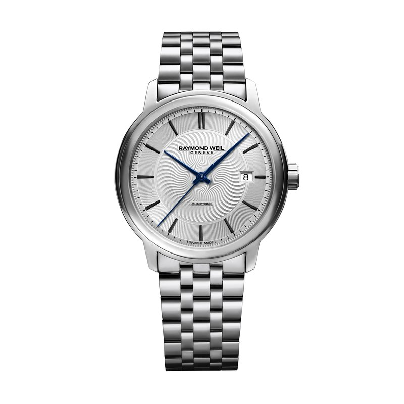 Raymond Weil Men's Automatic Date Watch, 39mm Steel on steel, silver dial