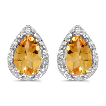 10k White Gold Pear Citrine And Diamond Earrings
