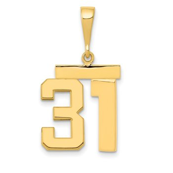 14k Medium Polished Number 31 Charm