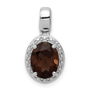 Sterling Silver Rhodium-plated with Smoky Quartz Oval Pendant