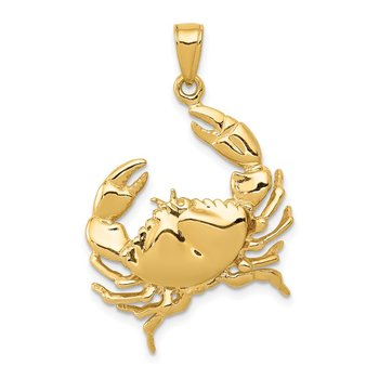 14k Stone Crab with Claw Extended Pendant
