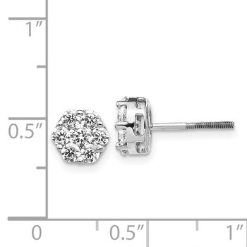 14k White Gold Diamond Cluster Screwback Earrings