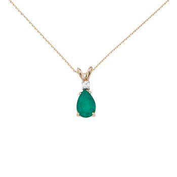 14k Yellow Gold  Pear Shaped Emerald and Diamond Oval Pendant